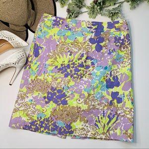 Talbots | Pencil Skirt | Purple yellow floral